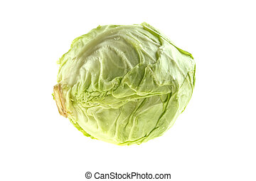 head of organic cabbage on a white background, isolated