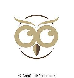 head of owl logo design vector illustration symbol of knowledge concept