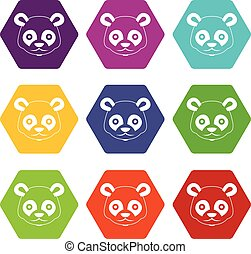 Head of panda icon set color hexahedron