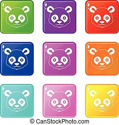 Head of panda icons 9 set
