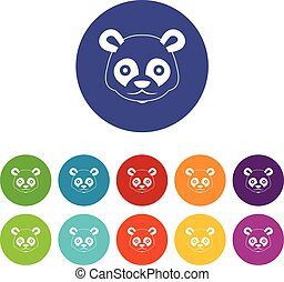 Head of panda set icons