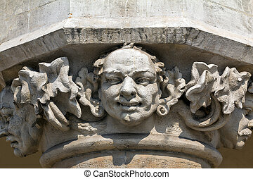head of pillar designed by jan matejko on cloth hall on main market square in cracow in poland