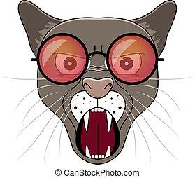 Head of puma in hipster sunglasses . Animal cartoon vector illustrtation.