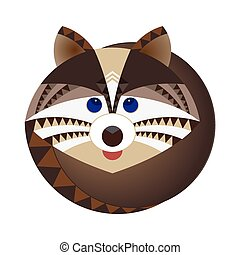 Head of raccoon, decorative geometric stylization