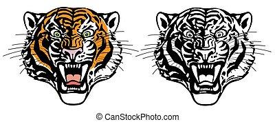 head of roaring tiger