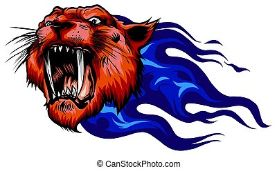 Head of roaring tiger in tongues of flame. Angry wild big cat. Front view.