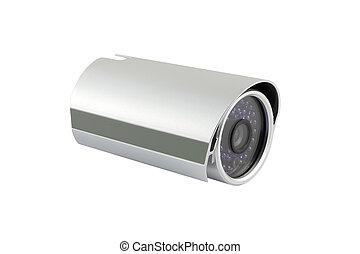 Head of security camera on white background.