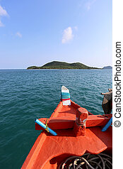 head of ship in sea and heading straight to the islands on...