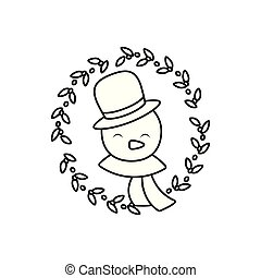 head of snowman with hat and scarf on white background