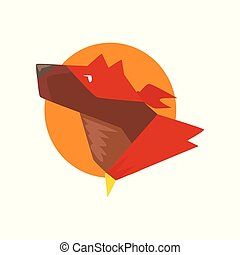 Head of superhero dog against the sun, super dog dressed in red cape and mask cartoon vector Illustration