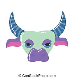 Head of taurus with blue horns zodiac modern sign
