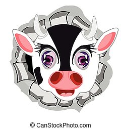 Head of the cow in hole