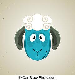 Head of the cute cartoon smiling sheep - Head of the cartoon...