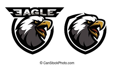 Head of the eagle, sport logo. Two versions.