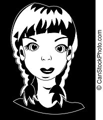 Head of the girl on black