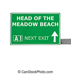 HEAD OF THE MEADOW BEACH road sign isolated on white