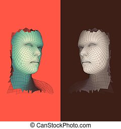 Head of the Person from a 3d Grid. Human Head Wire Model. Face Scanning. View of Human Head. 3D Geometric Face Design. Polygonal Covering Skin. Illustration.