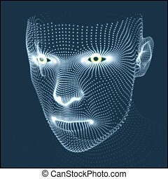 Head of the Person from a 3d Grid. Human Head Model. Face ...
