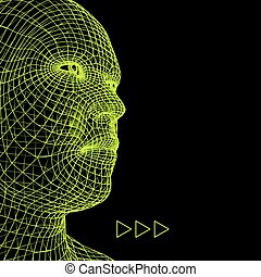 Head of the Person from a 3d Grid. Human Head Wire Model. Human Polygon Head