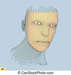 Head of the Person from a 3d Grid. Human Head Wire Model. Geometry Polygon Man Portrait.