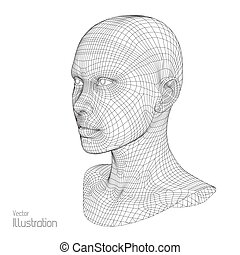 Head of the Person from a 3d Grid. Human  Wire Model.  Polygon . Face Scanning. View   .  Geometric  Design.  Polygonal Covering Skin.