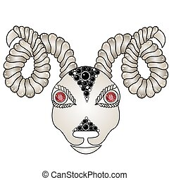 Head of the ram (ram head). Zodiac signs - Aries (colored). Eyes of red rubies (precious stones). Graphic pattern with gem.