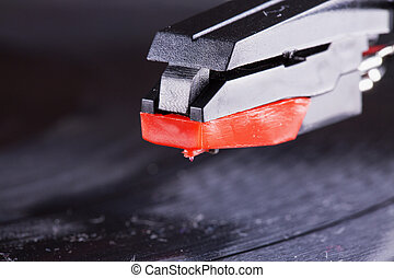 Head of the turntable, strict close up