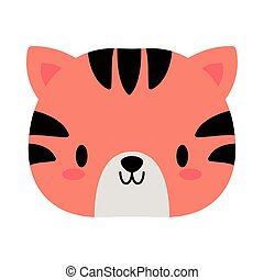 head of tiger baby kawaii, flat style icon