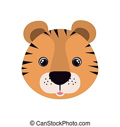 head of tiger for baby card with white background