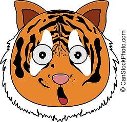 Head of tiger in cartoon style. Kawaii animal.