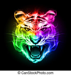 Head of tiger in colorful fire. - Head of tiger blazing in...