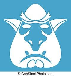 Head of troll icon white