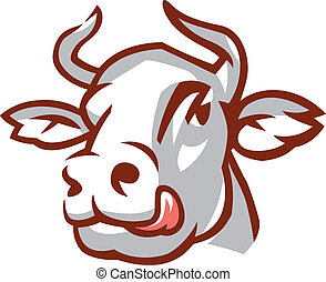 Head of White Cow - Head of Licking Cow. Stylized Drawing....