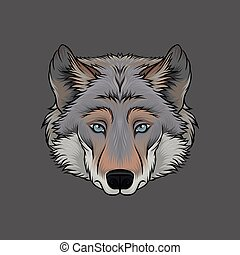 Head of wolf, portrait of wild animal hand drawn vector Illustration