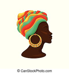 Head of young black woman in a turban, side view vector Illustration on a white background