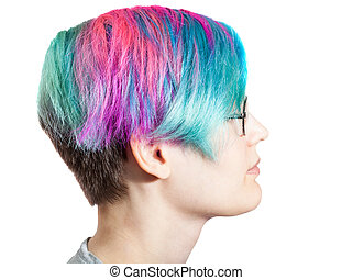 woman with glasses and multi colored dyed hairs - head of ...