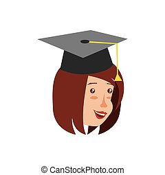head of young woman with hat graduation