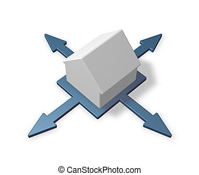 house and arrows in four directions - 3d illustration