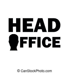 Head office sign, simple flat vector illustration design
