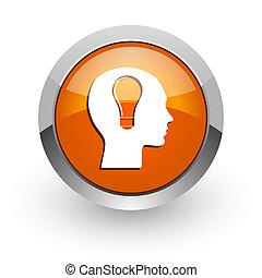 head orange glossy web icon