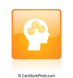 head orange square glossy web icon