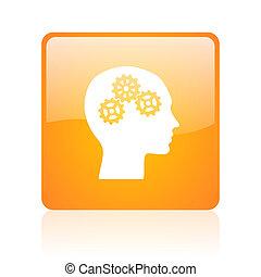 head orange square glossy web icon