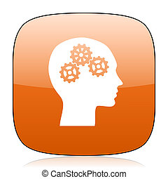 head orange square web design glossy icon
