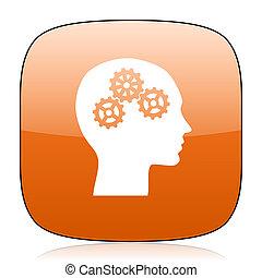 head orange square web design glossy icon