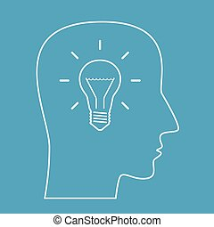 Head outline with bright glowing light bulb inside on blue background. Idea, intelligence and innovation concept. EPS 8 vector illustration, no transparency