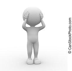 Head pain - 3d people - men, person- head pain