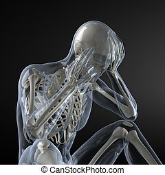 Head Pain X-ray concept - Transparent skin concept