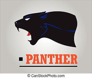 head., panther., rugindo, pantera, destemido