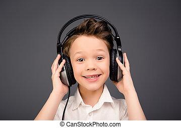 head-phones, junge, reizend, musik, wenig, porträt, zuhören