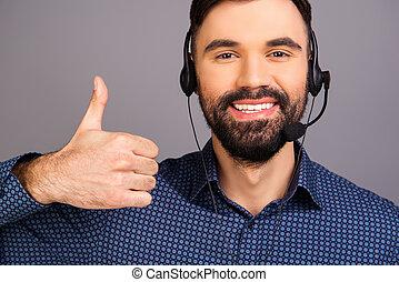 """head-phones, lächeln glücklich, gesturing, """"like"""", mann"""